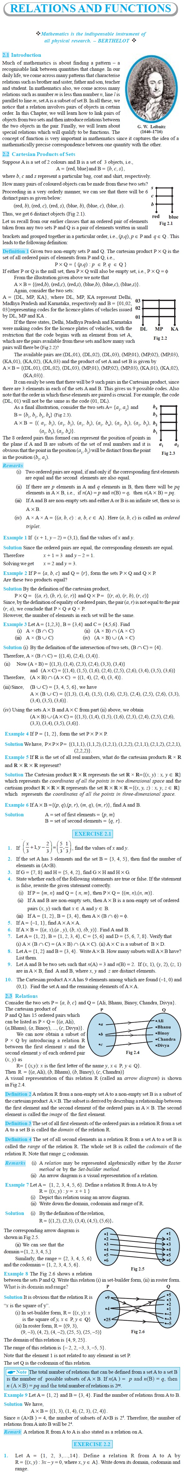 NCERT Class XI Mathematics Chapter 2 – Relations and Functions