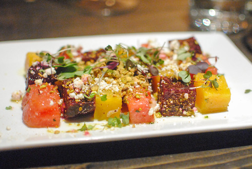 Roasted Beet and Watermelon Salad Pistachio, Humboldt Fog Goat Cheese and Lemon Vinaigrette