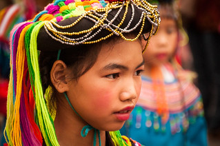 Wearing a traditional Hill Tribe head peace -- Chiang Mai Flower Festival 2013