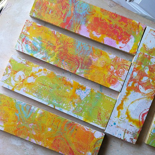 Here are the ones from yesterday after adding a layer with the #gelliarts printing plate #mixedmedia #pink #orange #yellow #green #teal