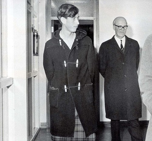 1973 Charles escorts an unidentified visitor around the building. There were no girls at the school and this had a lasting effect on the prince