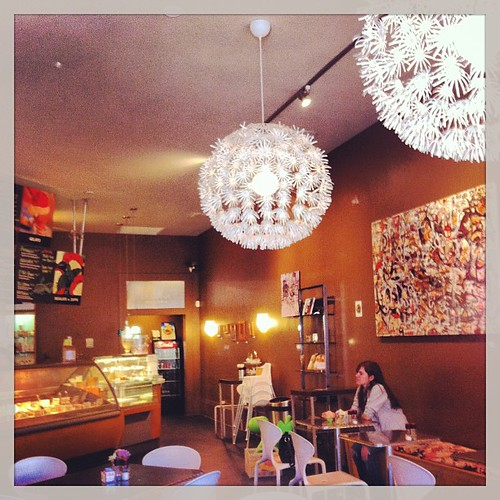 Casual, funky atmosphere of La Divina Gelateria. 2-7-13 #ladivinagelateria #anna #neworleans #funky #light #restaurants #food #yum #art