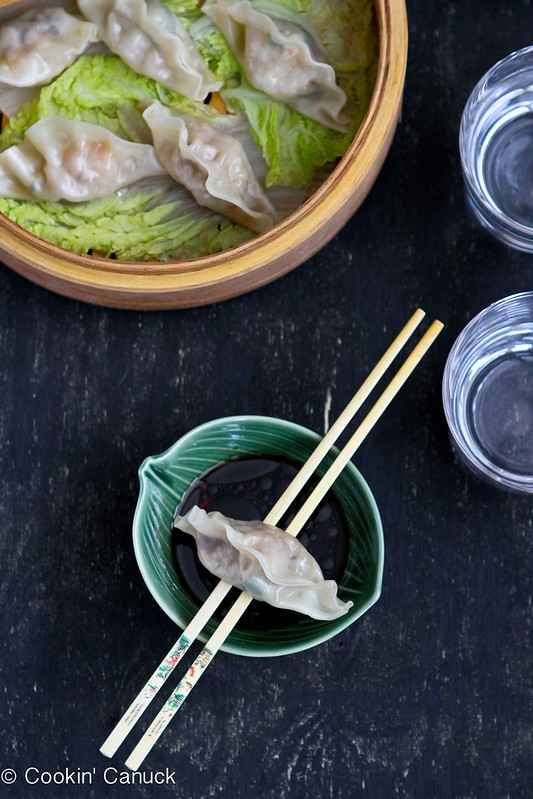 Steamed Shrimp & Mushroom Dumplings Recipe for Chinese New Year by Cookin' Canuck #ChineseNewYear #shrimp #dumplings