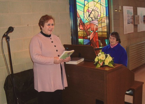 Parishioner Joan Eaton Cantor (left) practicing for mass with Bernardine Moran SSL  (right) at St Joseph's church in Dundalk