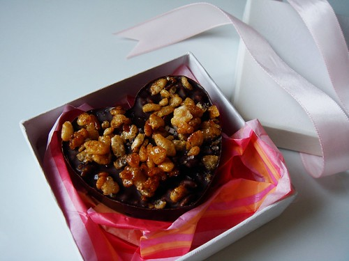 Chocolate Hearts with Caramelized Rice Krispies & Dried Cherries