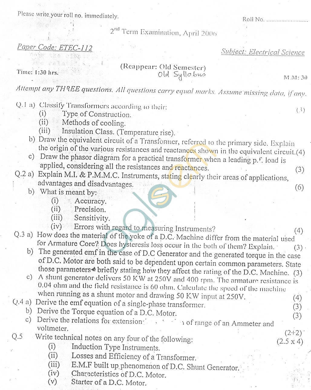 GGSIPU Question Papers Second Semester – Second Term 2006 – ETEC-112