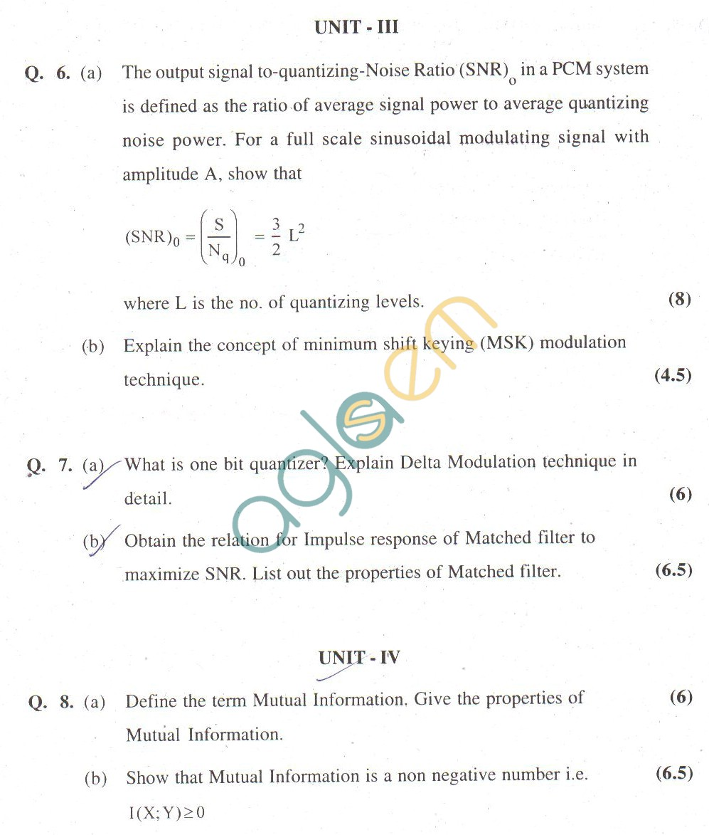 GGSIPU Question Papers Fourth Semester – End Term 2011 – ETIT-208