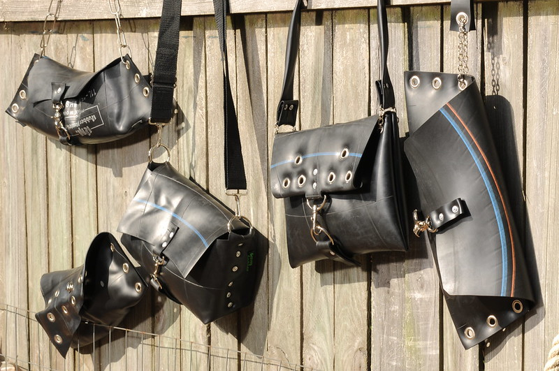 Inner tube handbags by Groovy Garbage