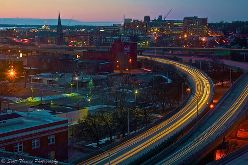 city longexposure winter light red sky signs newyork motion cars skyline clouds buildings movement highway downtown dusk horizon central cny syracuse interstate streaks route81 onondagacounty yourphototips afsnikkor28300mmf3556gedvr