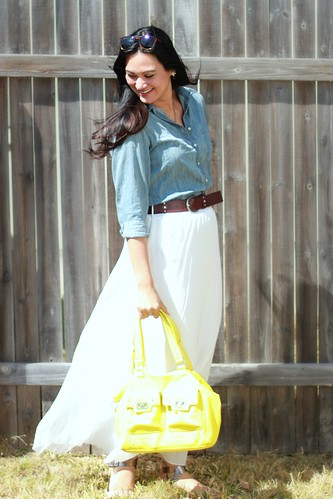 white maxi with chambray blouse