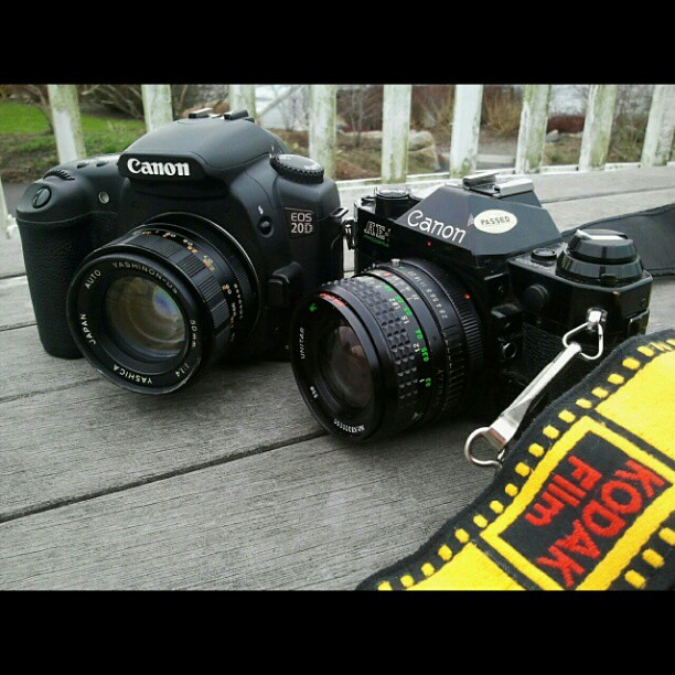 Got the brothers out on this cold windy Northwest day. Canon AE-1 is loaded with Kodak 200 color #film, and is set with a 24mm f2.8 FD lens. Canon 20D DSLR is sporting a Yashinon 50mm f1.4 manual lens.  Got off Auto-Focus and go have some fun! #filmisnotd