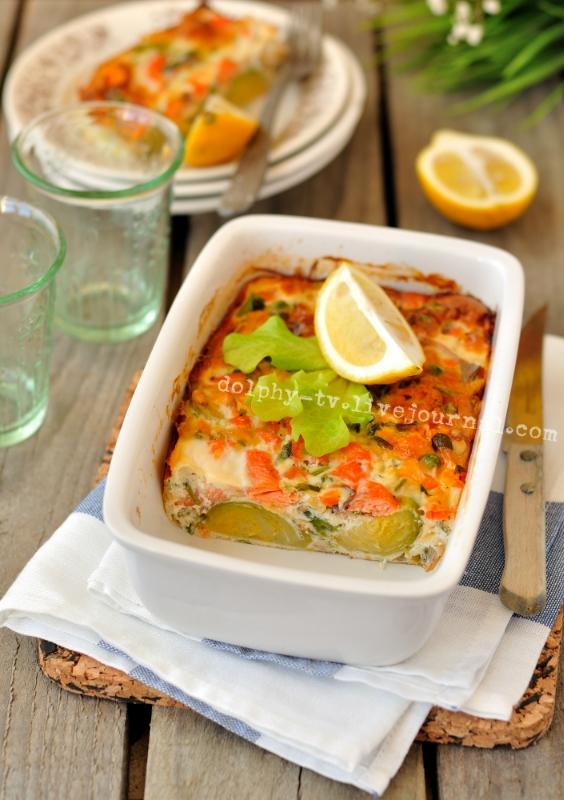 Salmon and Brussels Sprout Bake / Запеканка из красной рыбы и брюссельской капусты
