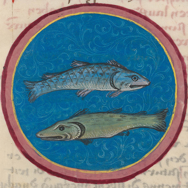 Zodiac sign of PISCES in a 15th century manuscript