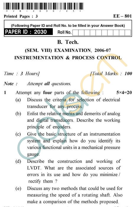 UPTU B.Tech Question Papers - EE-801 - Instrumentation & Process Control