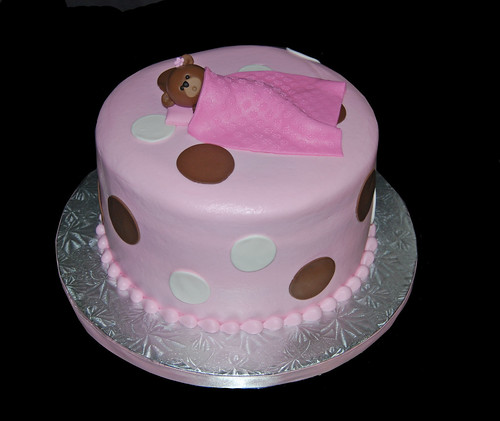teddy bear themed pink and brown baby shower cake