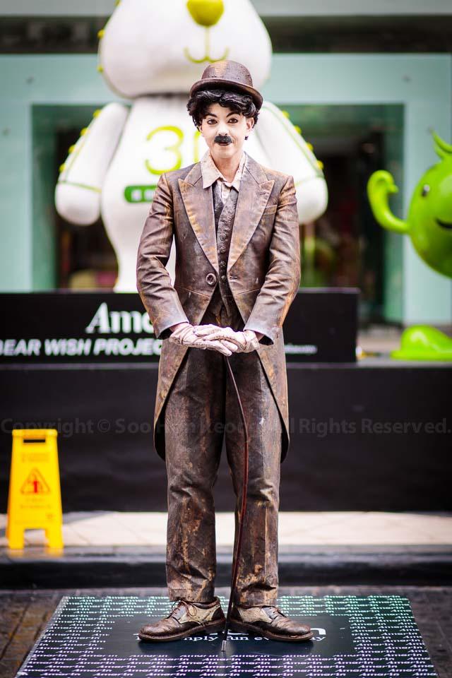 "Living statue the ""Charlie Chaplin"" @ Living Arts Festival, Bangkok, Thailand"