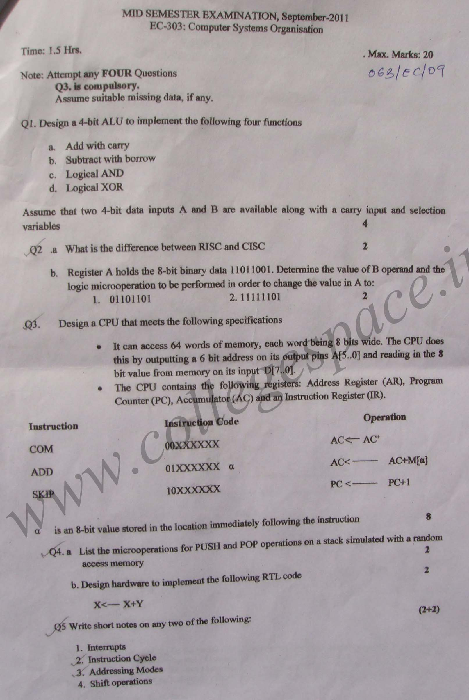 NSIT: Question Papers 2011 – 5 Semester - Mid Sem - EC-303