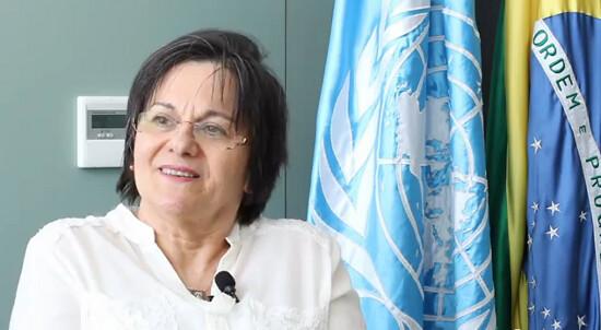 Maria da Penha em visita à Casa da ONU no Brasil. Foto: PNUD/reprodução de vídeo.