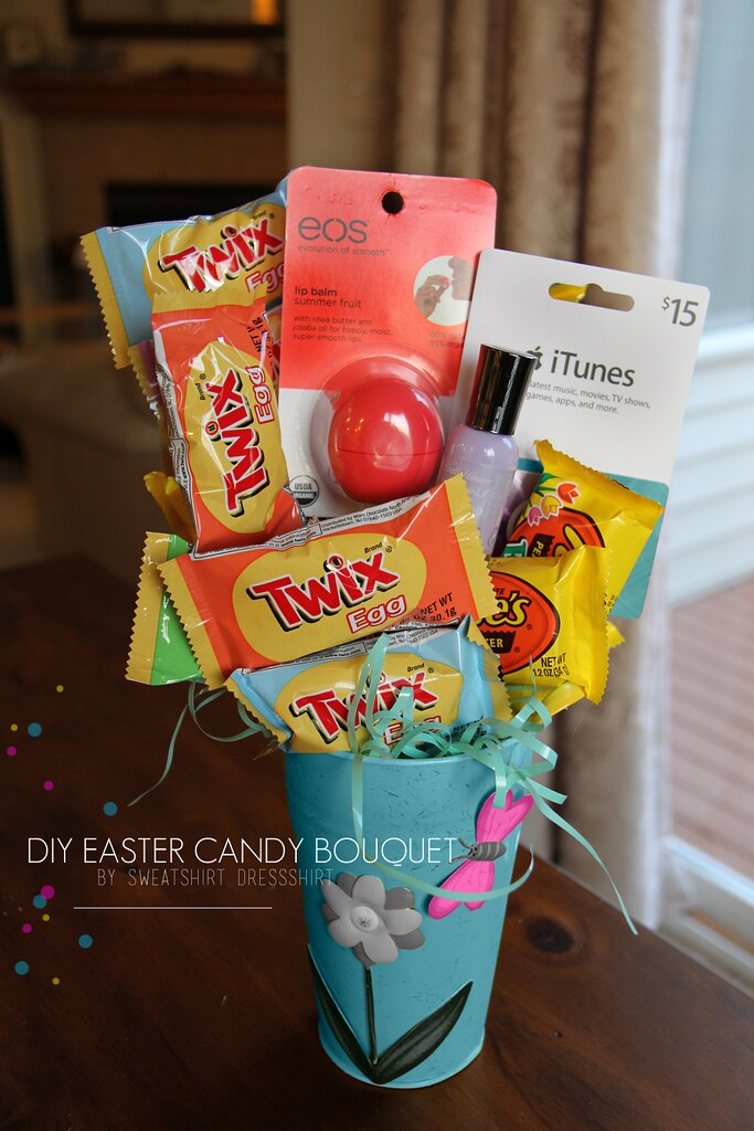 easter candy bouquet, diy easter candy craft, easter gift ideas, easter candy, easter goodies, easter gifts for kids, easter gifts for girlfriend, easter gifts for family, cheap easter presents
