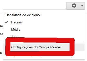 Configurações Google Reader
