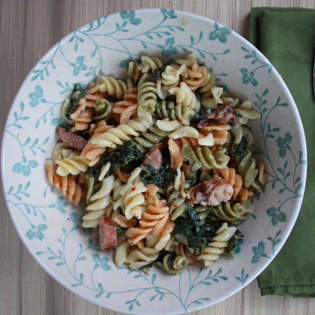 Kale Rotini with Brats