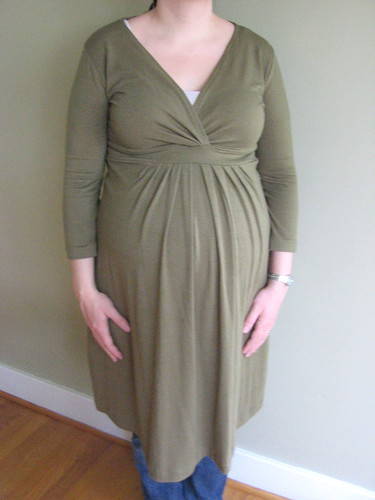 green maternity dress front