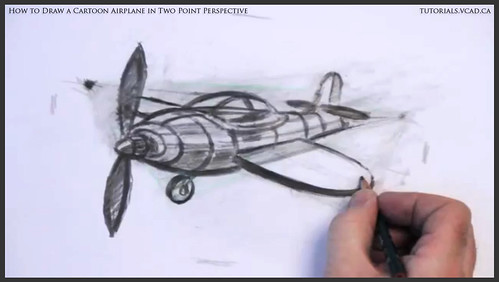 learn how to draw a cartoon airplane in two point perspective 045