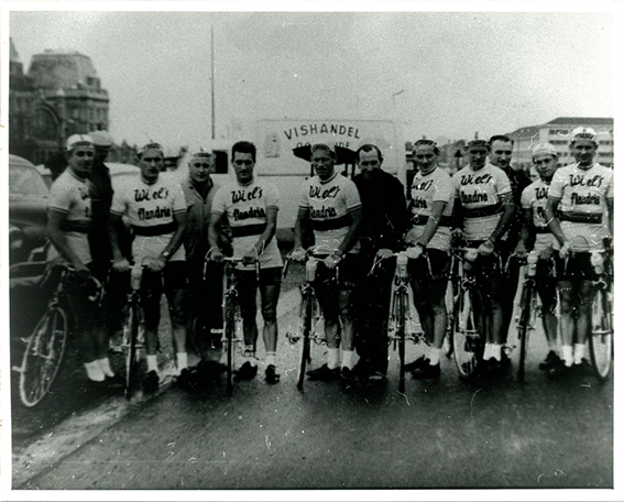 John Kennedy, Wiels Flandria team, (3rd rider from left), Belgium, C1960
