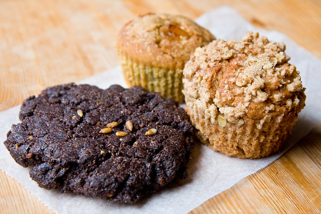 Chocolate and sunflower cookie, rosemary cornbread muffin, and apple and spelt muffin, Body and Soul