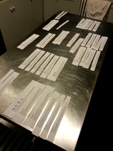 A steel table top covered with strips of paper, each containing a chapter summary