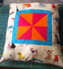 Puppy Puns Pinwheel Pillow