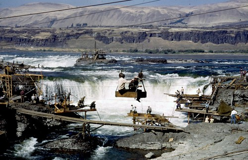 archival photo, fishing platforms over Celilo Falls (courtesy of Columbia River Inter-Tribal Fish Commission)