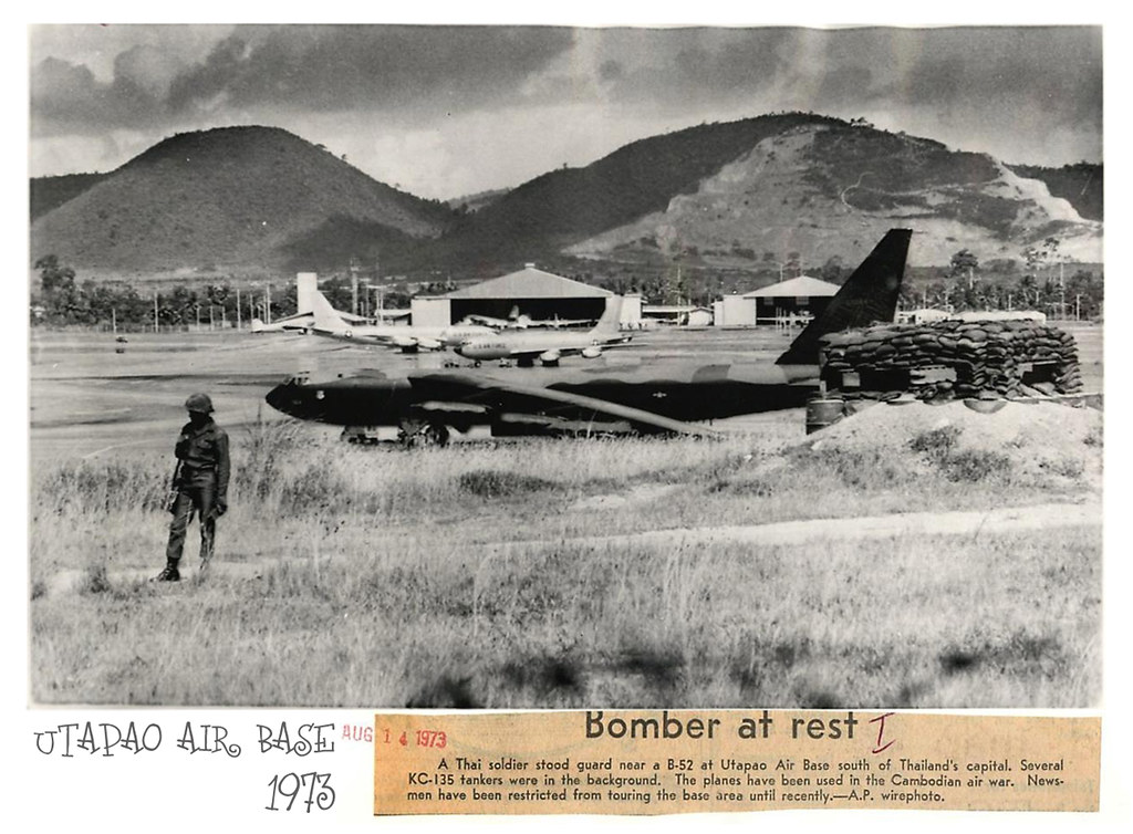 Utapao Afb Thailand Map.1973 Thai Soldier Stands Guard Near B 52 At Utapao Air Bas Flickr