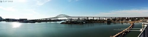 bridge panorama composite bay ship texas corpuschristi usslexington lagoon haunted aircraftcarrier warship hugin roadbridge canonef2255mmf456usm canonxsi zeesstof