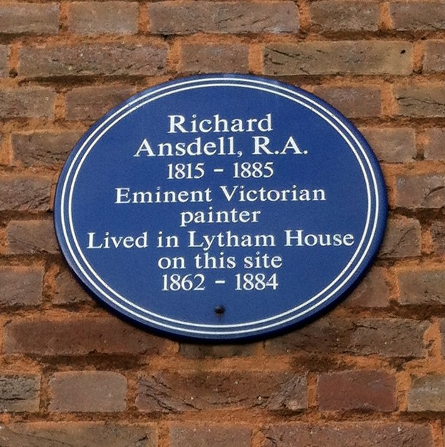 Richard Ansdell blue plaque - Richard Ansdell, R.A. 1815-1885 Eminent Victorian painter Lived in Lytham House on this site 1862-1884