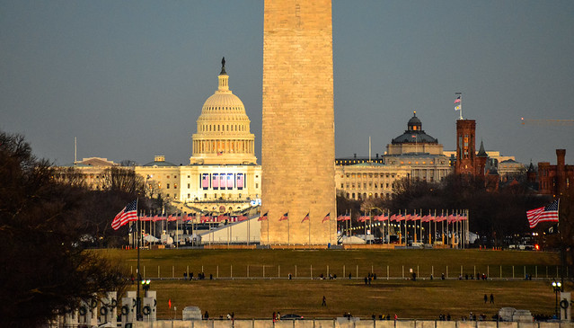 Inauguration 2013 preparations at the Washington Monument and US Capitol - Washington DC