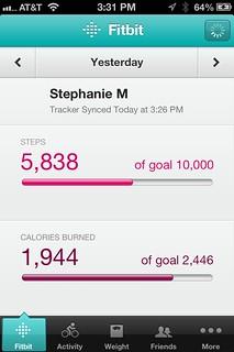 Fitbit app screen captures