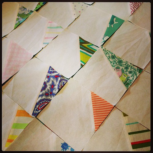 stitch and flip triangles with vintage sheet scraps