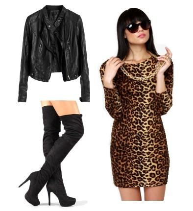 animal print dress with black thigh high boots