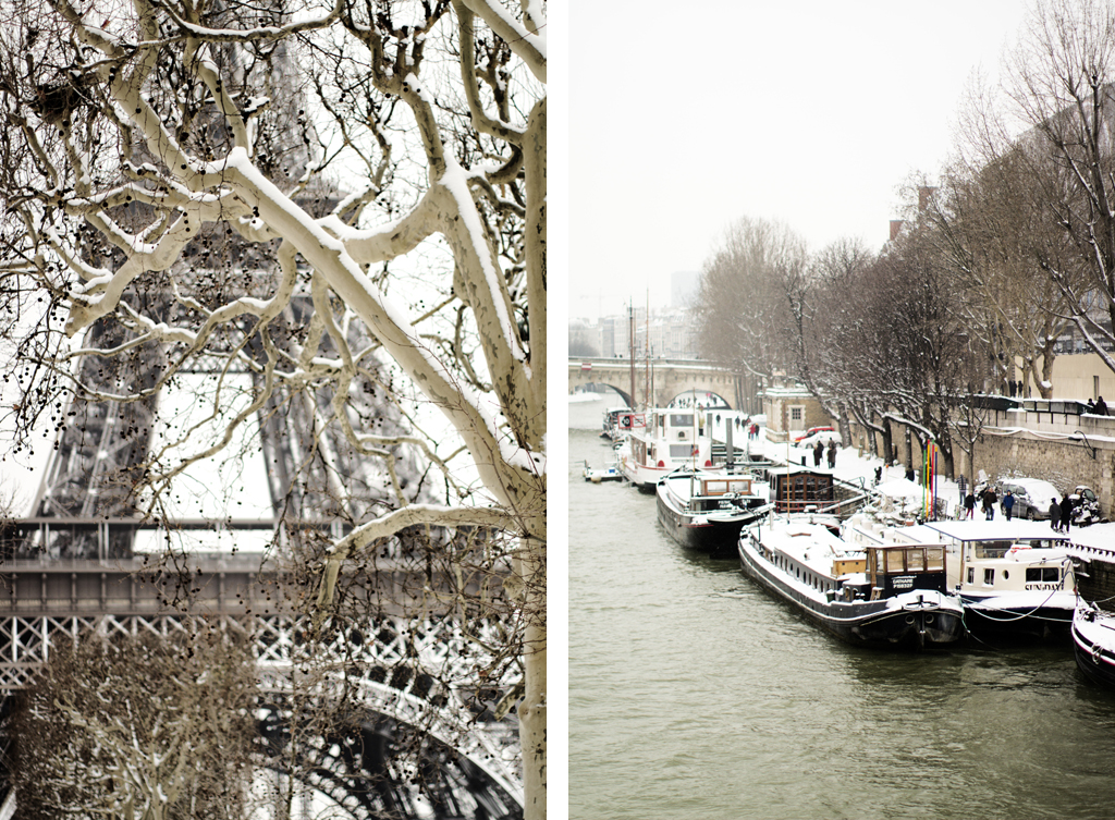 boats along the Seine in Paris in the snow and a snowy Eiffel Tower