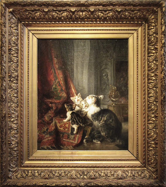 Interior with cats - Louise-Eugeen Lambert(1825-1900), third quarter 19th century