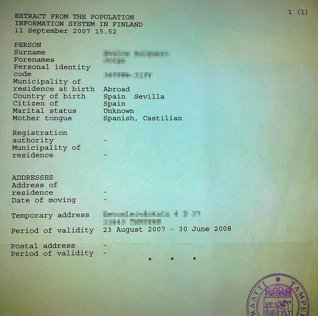 Documento con el FID