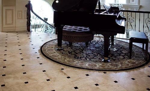 Travertine and granite penguin style floor