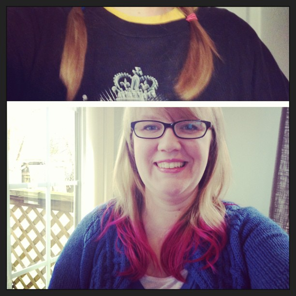 Before and after: pink tips!