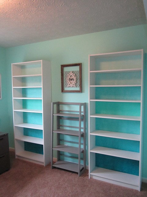 ikea billy bookcase hack blue ombre tin tile flickr photo sharing. Black Bedroom Furniture Sets. Home Design Ideas