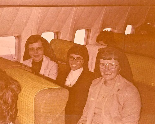 November 29, 1976. The three pioneers in the airplane (left to right): Maura Clerkin SSL, Margie Buttitta SSL, and Catherine Foley SSL.