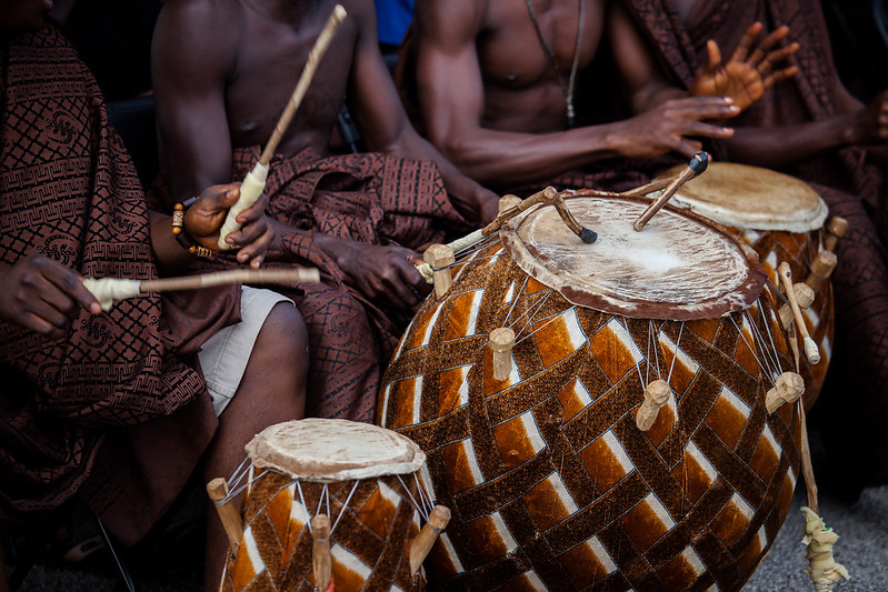 bongo drums played during Ashanti funeral in kumasi