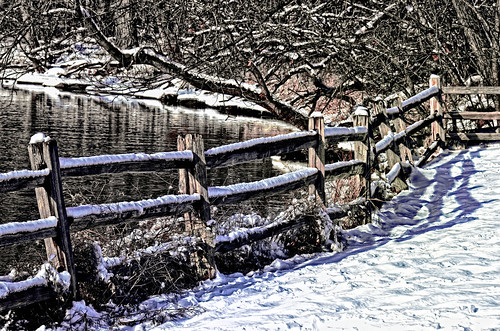 snow nature water fences rivers desplainesriver hff rivertrailnaturecenter nikkor18300mm fencefriday