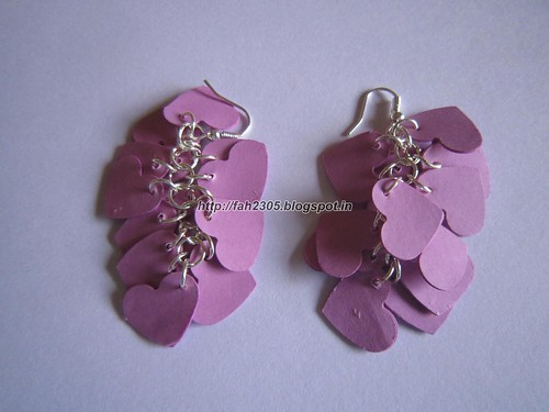 Handmade Jewelry - Paper Punch Earrings (Heart Hanging) (2) by fah2305