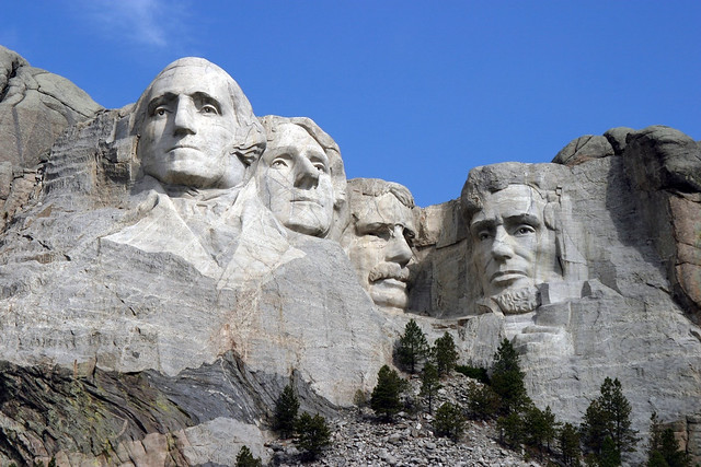 Presidents carved in stone.
